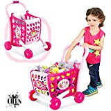 Girls Shopping Cart Toy With Fruits And Vegetables For Kids 29 Pcs (Color As Per Availability) By CIERN