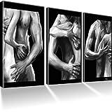 Akt & Erotik & Nude Bilder auf Leinwand mit Keilrahmen / XXL Bild / Black & White / Art Deco / XXL 3 Bilder / Wandbilder / Kunstdruck / Leinwandbild / Pictures on Canvas / Fertig gerahmt !