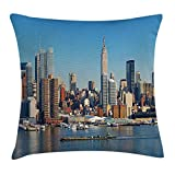 WYICPLO New York Throw Pillow Cushion Cover, Urban City Skyline Manhattan with Empire State Building Over Hudson River Panorama, Decorative Square Accent Pillow Case, 18 X 18 inches, Blue Grey