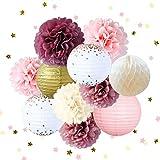 NICROLANDEE Kit de decoración de la Fiesta Rosa Tejido Flor Puntos de Oro Rosa linternas de Papel Confeti Dorado para Bodas Ducha Nupcial Baby Shower Fiesta de cumpleaños Decoraciones