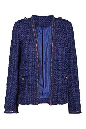 next Femme Veste en tweed bord à bord Bleu