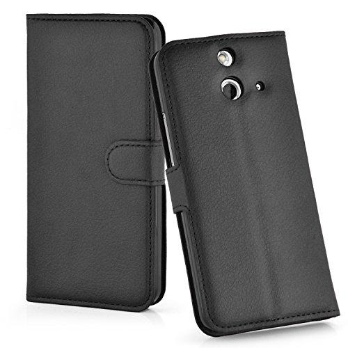 Cadorabo Hülle für HTC One E8 Hülle in Phantom schwarz Handyhülle mit Kartenfach und Standfunktion Case Cover Schutzhülle Etui Tasche Book Klapp Style Phantom-Schwarz