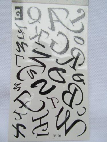 Fat-catz uomo donna tatuaggio temporaneo tabella qualità nero artistica lettere corsivo alfabeto a alla z feste sacs-cadeaux-turni di londra