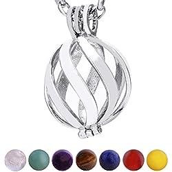 Collar de acero inoxidable con espiral y Perla a elegir en Varios Colores