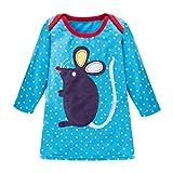 JERFER Mädchen Crewneck Langarm Casual Karikatur Stickerei Party T-Shirt Kleid Kinderkleider Festliche 2-8 T/Jahre (C, 5T)