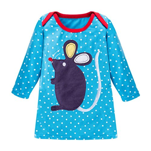 JERFER Mädchen Crewneck Langarm Casual Karikatur Stickerei Party T-shirt Kleid Kinderkleider Festliche 2-8 T/Jahre (C, 8T) (Blau Kleid Shirt Gestreiften)