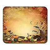 Mousepad Orange Thanksgiving Herbstliche Zierblätter Und Füllhorn Bunter Rand Mauspad 25X30Cm