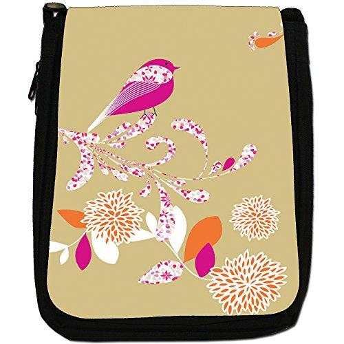 Elegante borsa a tracolla Uccelli su tela fiori media, nero, taglia M Tan