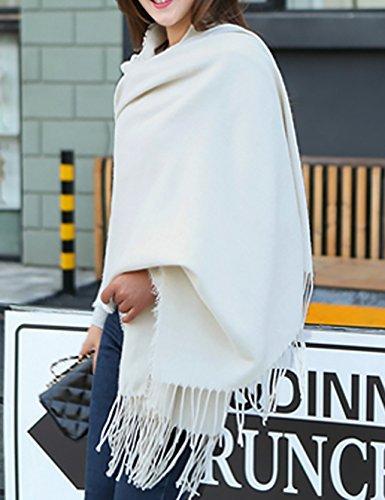 LHP Européenne - Style Solid Echarpe Femmes Automne Et Hiver Châle Frangé Deux Usages Épais Chaleur Des Étudiants Tricot Couples Cape (5 Couleurs Du Même Taille) Haut de gamme C