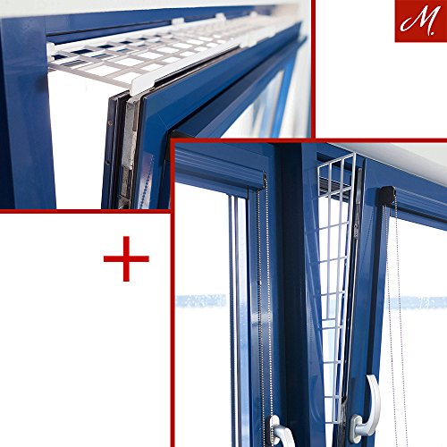 M.Versand Kippfenster-Schutzgitter Set, Kunstoff, 2-tlg, Oben/Unten Ausziehbar, Weiß - 75-125x16 cm, inkl. Schrauben & Klebestreifen