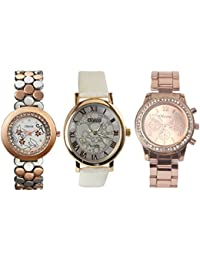 Oleva Premium Women's Metal & Leather Watch Pack Of 3 OPC-3-1