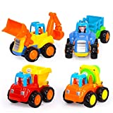 #8: Smartcraft Happy Engineering Vehicles , Push and Go Friction Powered Car Toys Set Tractor Bulldozer Mixer Truck and Dumper for baby toddlers (Pack of 4)