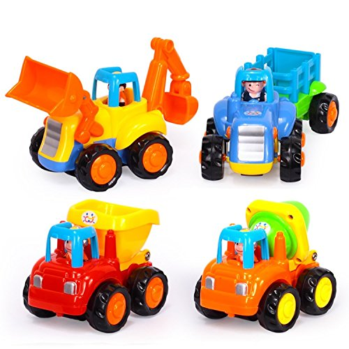 Smartcraft Happy Engineering Vehicles , Push and Go Friction Powered Car Toys Set Tractor Bulldozer Mixer Truck and Dumper for baby toddlers (Pack of 4)