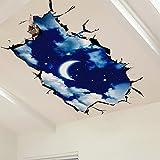 JAYSK Kreative Mond Nachthimmel 3D dreidimensionale Wandaufkleber Wohnzimmer Wandaufkleber Dach Decke dekorative selbstklebende Tapete 105cm * 60cm