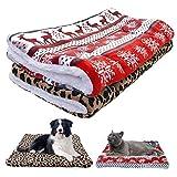 Ruluti 1PC Hundebett Mat Warmer Winter Welpen-Katze-Haus-HundehüTte Klein Mittel Groß Hunde Betten Weihnachten Schlafdecke, Rot, GrößE M