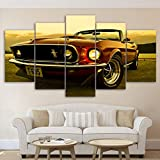 ZQDMYB Mur Modulaire Art Peintures HD Imprimé Moderne Affiches De Voiture Cadre 5 Pièces 1969 Ford Mustang Toile Photos Home Decor Salon-, 20x35 20x45 20x55cm