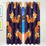 Orediy Fenstervorhang, blickdicht, Cute Space Fuchs / Fuchs, Wärmeisolierung, zur Behandlung von Fenstern, Schlafzimmer, Wohnzimmer, Büro, große Drapes Home Decor, 140 x 213 cm pro Paneel