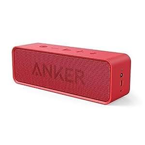 Anker SoundCore - Mobiler Bluetooth 4.0 Lautsprecher mit unglaublicher 24-Stunden-Akkulaufzeit und Dual-Treiber Wireless Speaker mit reinem Bass und eingebautem Mikrofon für iPhone, iPad, Samsung, Nexus, HTC und andere Android Geräte (Rot)
