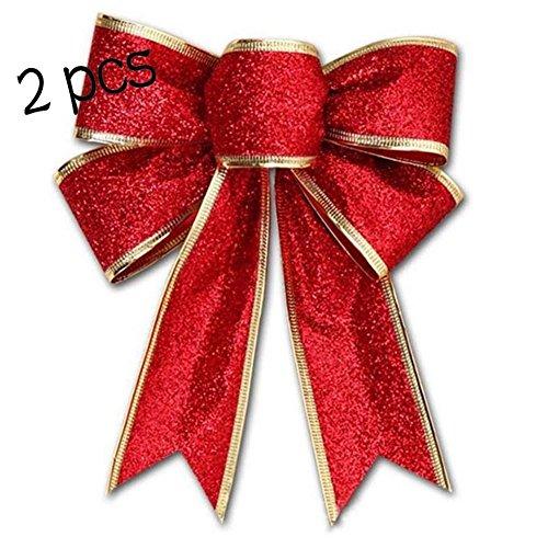 ür Weihnachtsbaum, Dekoration für Innen-/Außenbereich, von Woopower, 2er-Set rot (Elegante Christbaumschmuck)