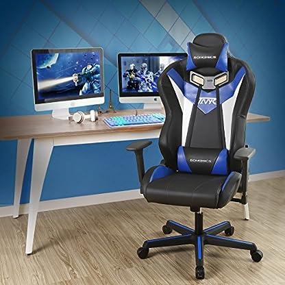 SONGMICS Silla racing ergonómica Silla de videojuegos con respaldo alto Silla de oficina ajustable con Reposacabezas Soporte lumbar Apoyabrazos RCG15BU