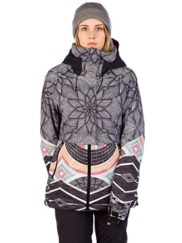 Roxy Frozen Flow Chaqueta, Mujer, (True Negro_Pop Snow Stars), S