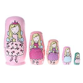 JAGENIE 5PCS Angel Princess Matrioska in legno Matryoshka Dolls Kids Toy Gift