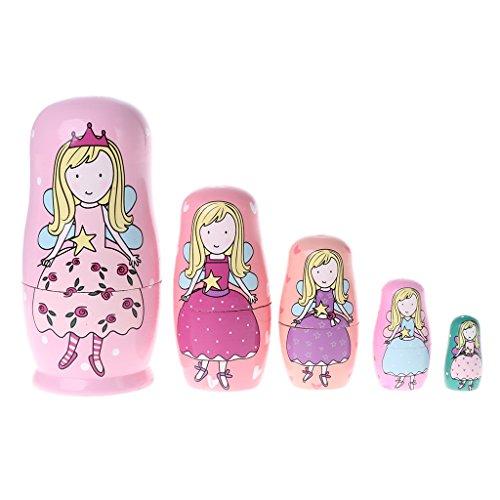 5 muñecas rusas de Angel Princesa Runrain de madera Matryoshka muñecas juguete para niños