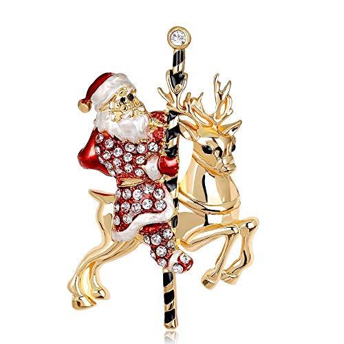Defect Broche de Ciervos de joyería Santa Navidad Broche Broche Navidad Regalo 2-Piece Set