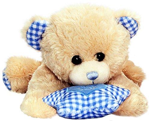 Lashuma Keel Baby Plüschtier Bär mit Spieluhr in Blau, Kuscheltier Teddy liegend 30 cm