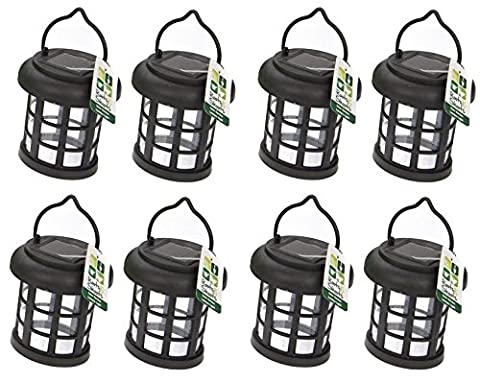8 x Garden Solar Power Hanging Light LED Outdoor Lighting Black Tree Ornament - A Great Addition For Your