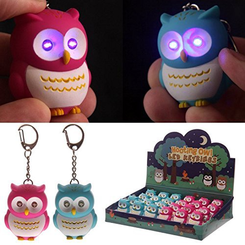 Perfect Cute Pink Blue Light Up Hooking Owl Keyring Fun Cute Party Bag Filler Sound  Novelty