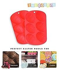 Idea Regalo - Confezione da 2 Vassoio con stampi di Silicone in Alta Qualità a Forme di Uovo Pasquale - Realizzare Uova di Cioccolato a Pasqua - Cucinare, Fare Cubi di Ghiaccio, Preparare Dolci in Forno (Red)