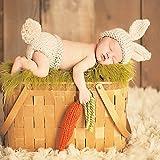 vecty (TM) Neugeborene Fotografie Props Baby Bunny Kostüm Hase Strickwolle Mützen und Windel Mützen Neugeborene Outfits Crochet Zubehör