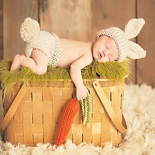 vyset (TM) Neugeborene Fotografie Props Baby Bunny Kostüm Hase Strickwolle Mützen und Windel Mützen Neugeborene Outfits Crochet Zubehör (Bunny Outfit Für Baby)