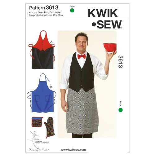 Kwik Sew Patterns K3613 Aprons Oven Mitt Pot Holder and Alphabet Appliques, Pack of 1, White