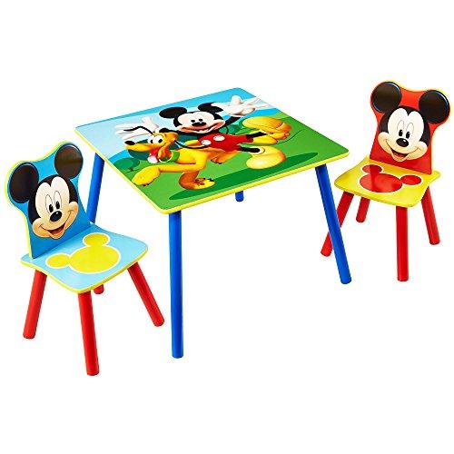TW24 Sitzgruppe Kinder Mickey Mouse - Kindertisch mit 2 Stühlen - Kindersitzgruppe