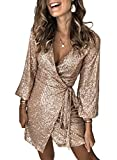 Dearlove Women's Sequin Glitter 3/4 Sleeve Dress Sexy V Neck Mini Party Club Bodycon Dresses