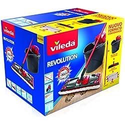Vileda Revolution Système de Nettoyage avec Seau, essoreuse et Plaque avec Chiffon en Microfibre 2 Morceaux de Tissu 28.5 x 40 x 28.3 cm Multicolore