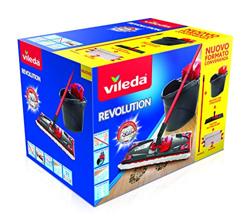 Vileda revolution sistema lavapavimenti con secchio, strizzatore e piastra, con 2 panni in microfibra, nero/rosso