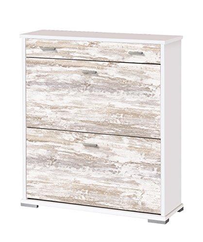 OVERHOME365 2205 B/V - Zapatero, madera, color blanco y vintage, 76x26x84.5 cm