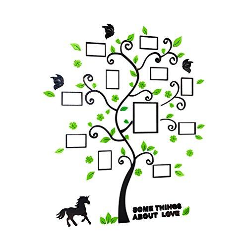 VORCOOL 3D Adesivi albero con Cornici di foto Farfalle e Gatto da parete con Foglie Verde Cavallo e Farfalle