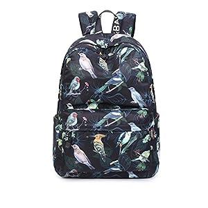 Joymoze Wasserdicht Schule Rucksack für Mädchen Mittelschule Süß Bücher Tasche Tagesrucksack für Frauen Schwarzer Vogel