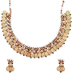 The jewelbox lakshmi coin gold temple antique red green necklace earring Set for Women