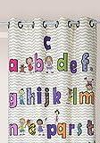 Linder 0302/20/49883/377FR-Cortinas, diseño de abecedario y Cifras O, poliéster y algodón, 140 x 245 cm