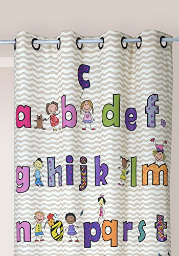 Linder 0302/20/49883/377FR Kinder-Vorhang mit Alphabet-/ Zahlendruckmotiv, Polyester/Baumwolle, mehrfarbig, 140x 245cm Alphabet Vorhänge