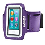 Smash Terminator ® Apple iPod Nano Touch/Nano 7, maßgefertigt, reflektierend, für Sport/Joggen/Laufen) Gym Sport Armband Größe mit Doppelarm-Fächer und Schlüsselfach Violett violett