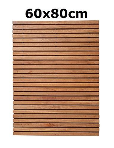 object de signprodukte Isi, Teak, 60x80cm, Badvorleger, Badematte, Bath Matt, Sauna, Bad, Wellness, Massivholz, distributed by
