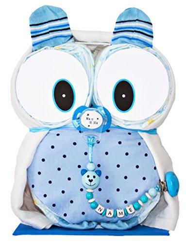 Windeleule Mio in Blau Windeltorte - Schnullerkette auf Wunsch mit Namen