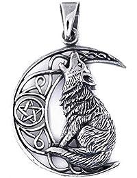 Dije Celta De Lobo Aullando A La Luna, Colgante Animal De Poder Pentagrama Wicca En Plata Esterlina 925 (P074)