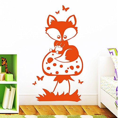 """Wandtattoo Loft """"Ein Fuchs auf einem Pilz"""" - Wandtattoo / 49 Farben / 4 Größen / brillantblau / 80 x 150 cm"""